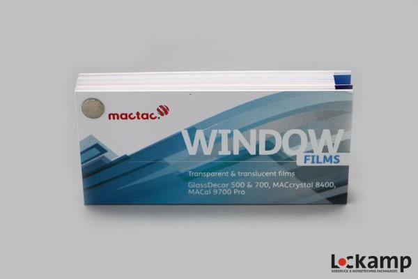 Farbfächer mactac Window Films (+ transluzente Farben)